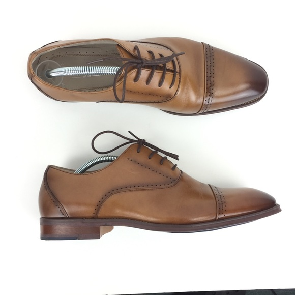 STACY ADAMS Mens Barris Cap-Toe Lace-up Oxford